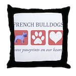French Bulldog Pawprints Throw Pillow