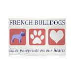 French Bulldog Pawprints Rectangle Magnet