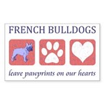 French Bulldog Pawprints Sticker (Rectangle)
