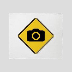 Warning : Photographer Throw Blanket