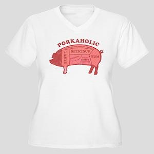 Porkaholic Women's Plus Size V-Neck T-Shirt