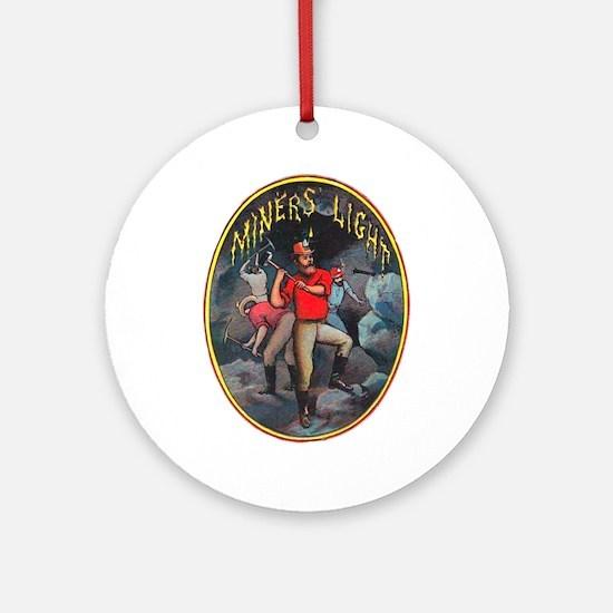 Miner's Light Cigar Label Ornament (Round)