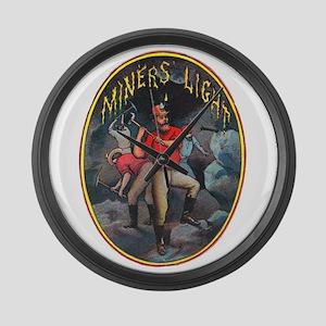 Miner's Light Cigar Label Large Wall Clock