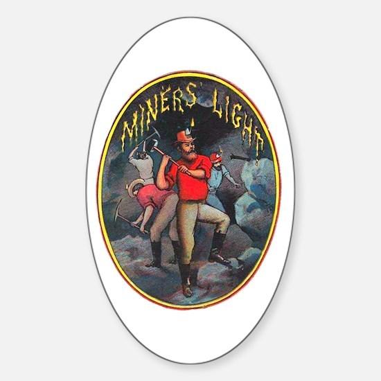 Miner's Light Cigar Label Sticker (Oval)