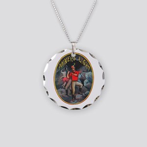 Miner's Light Cigar Label Necklace Circle Charm
