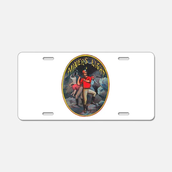Miner's Light Cigar Label Aluminum License Plate
