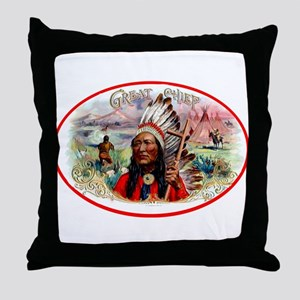 Great Chief Cigar Label Throw Pillow