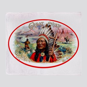 Great Chief Cigar Label Throw Blanket
