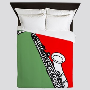 Saxophone Red and Green Circle Queen Duvet