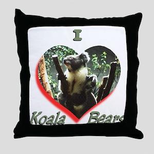 I Love Koala's Throw Pillow