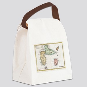 Vintage Map of Guadeloupe (1780) Canvas Lunch Bag