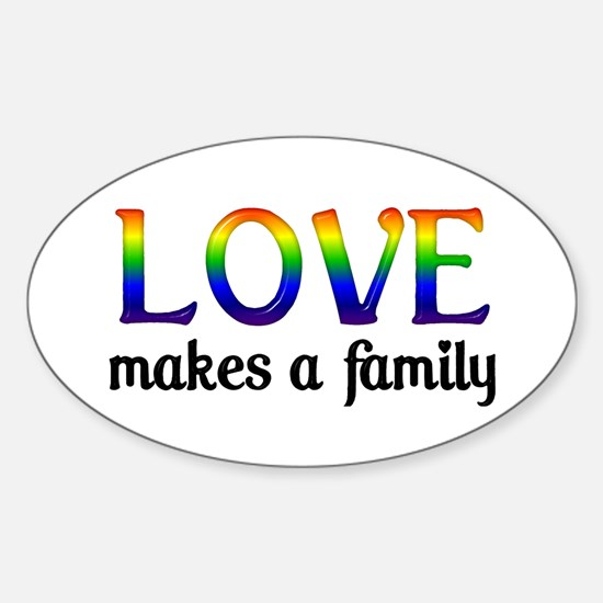 Love Makes A Family Oval Stickers