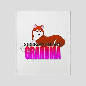 Copper Siberian Husky Grandma Throw Blanket