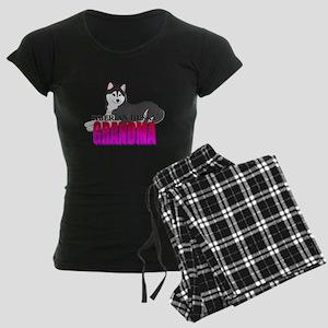 Black Siberian Husky Grandma Women's Dark Pajamas