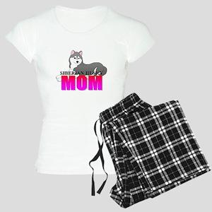 Gray Siberian Husky Mom Women's Light Pajamas