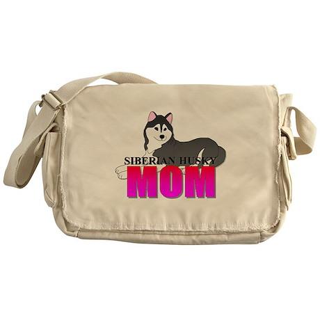Black Siberian Husky Mom Messenger Bag