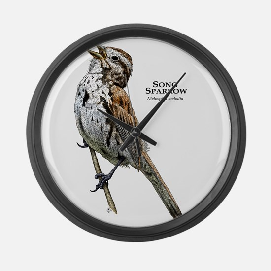 Song Sparrow Large Wall Clock