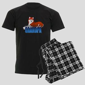 Copper Siberian Husky Grandpa Men's Dark Pajamas