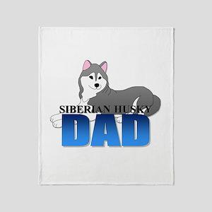 Gray Siberian Husky Dad Throw Blanket
