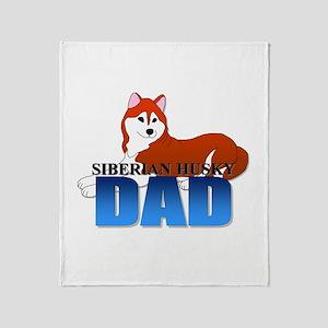 Copper Siberian Husky Dad Throw Blanket