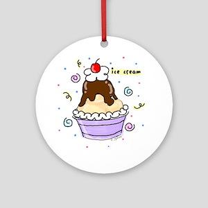 Hot Fudge Sundae Ice Cream Ornament (Round)