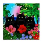 Black Cats Tropical Sunset Tile Coaster