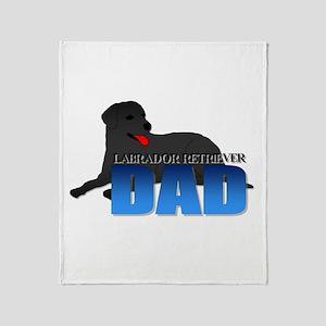 Black Labrador Retriever Dad Throw Blanket