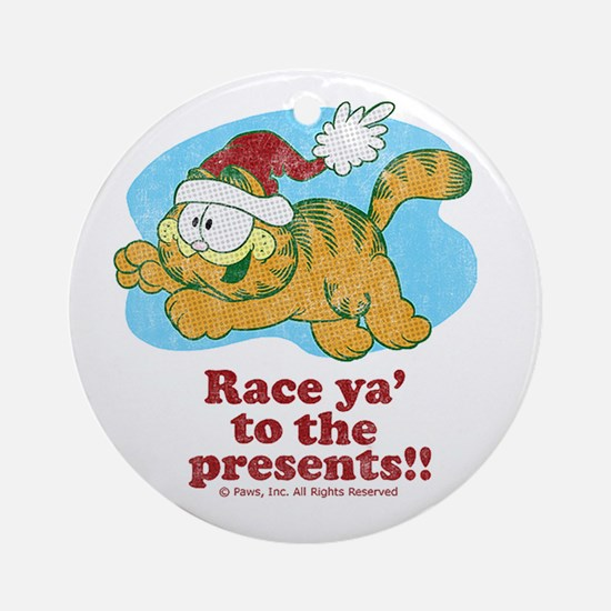 Race Ya' to the Presents!! Ceramic Ornament