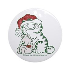 Santa Garfield & Pooky Ceramic Ornament (Round