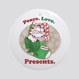 Peace. Love. Presents. Ceramic Ornament (Round)