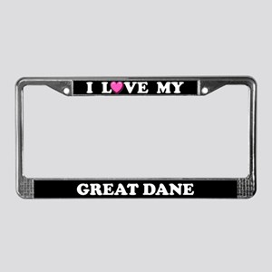 I Love My Great Dane License Plate Frame