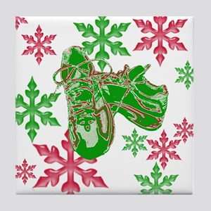 Running Shoes & Snowflakes Tile Coaster