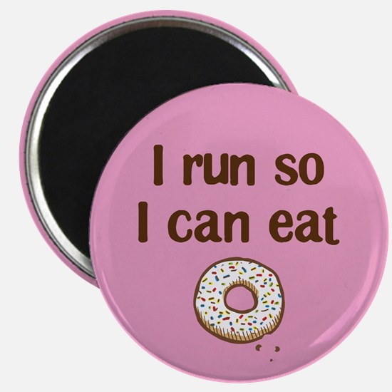 Run to eat Donuts Pink Magnet