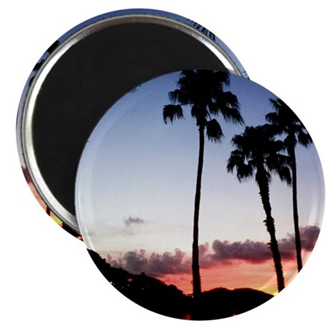 mountain palm tree sunset Magnet