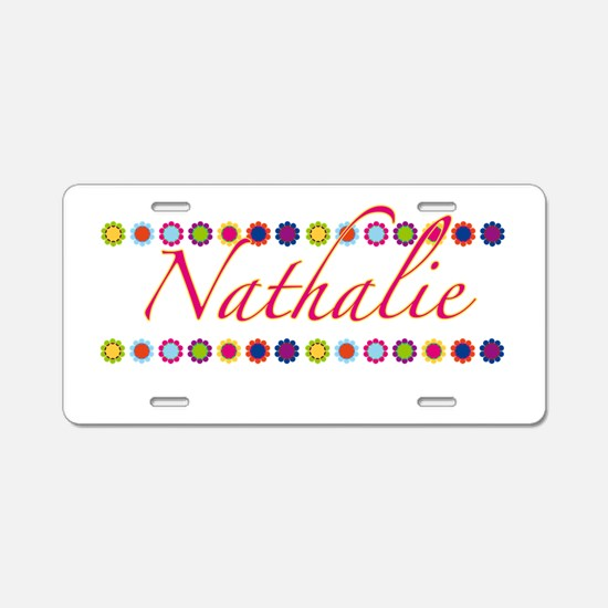 Nathalie with Flowers Aluminum License Plate