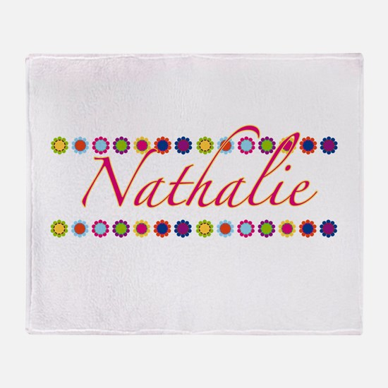 Nathalie with Flowers Throw Blanket