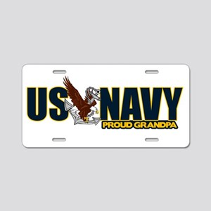 Navy Grandpa Aluminum License Plate