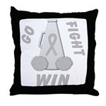 Gray WIN Ribbon Throw Pillow