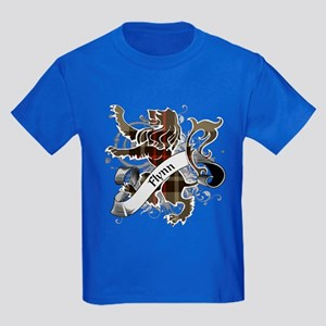 Flynn Tartan Lion Kids Dark T-Shirt