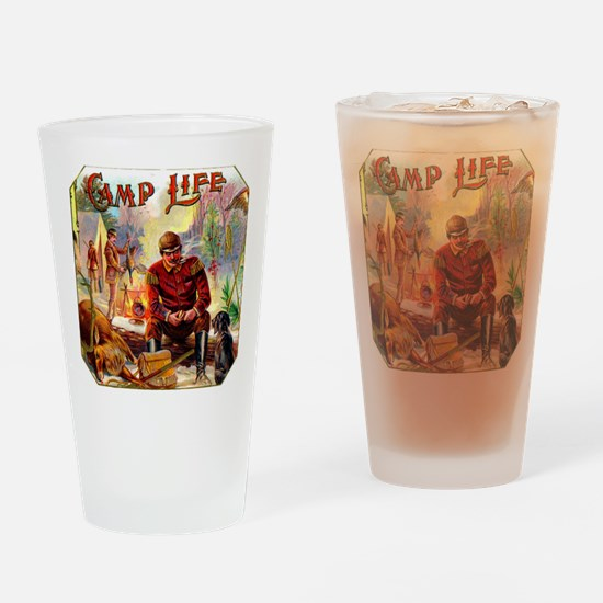 Camp Life Cigar Label Drinking Glass