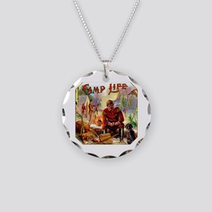 Camp Life Cigar Label Necklace Circle Charm