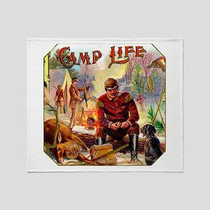 Camp Life Cigar Label Throw Blanket