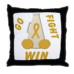 Gold WIN Ribbon Throw Pillow