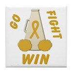 Gold WIN Ribbon Tile Coaster
