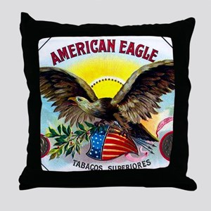 American Eagle Cigar Label Throw Pillow