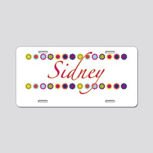 Sidney with Flowers Aluminum License Plate