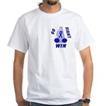 Blue WIN Ribbon White T-Shirt