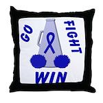 Blue WIN Ribbon Throw Pillow
