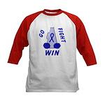 Blue WIN Ribbon Kids Baseball Jersey