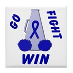 Blue WIN Ribbon Tile Coaster